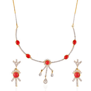 Be You Stylish Red Color Quartz Studded with Rhodium Plated Brass Diamond Look Earrings  Necklace Set for Women