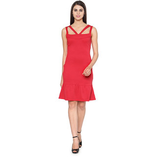 534fce24cd Buy Western Standard Strappy Bodycon Red Midi Dress Online - Get 14% Off