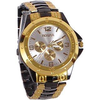 RosraRound Dial Black & Rose Gold Strap Men Quartz Watch for Men