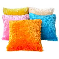 Deal Wala 2 Pieces Set Of Multi Color Fur Cushion Cover
