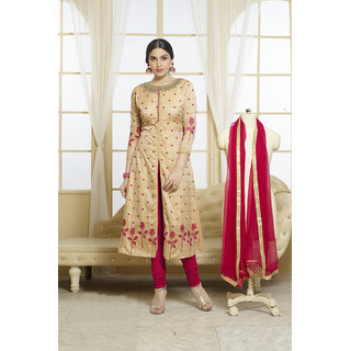 Fabliva Cream  Pink Embroidered Glace Cotton Straight Suit