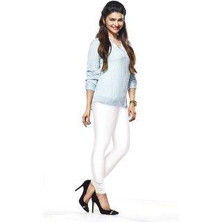 Women's Cotton Blended Churidar Leggings - White ( Free Size )