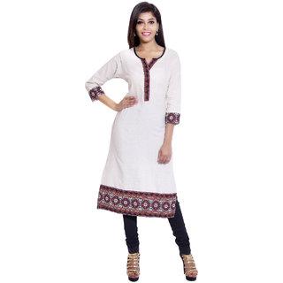 Shree Fashion Art Designer White Girls Indian Pure Cotton Kurti -134