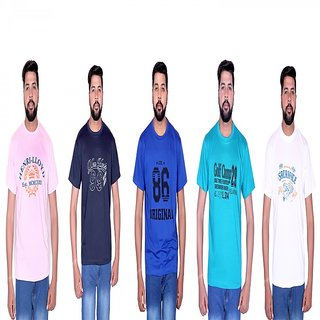 LONDON LOOK MUTILCOLOR ROUND NECK T,SHIRT CMBO OF 5