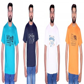 LONDON LOOK MUTILCOLOR ROUND NECK T,SHIRT (COMBO OF 4)