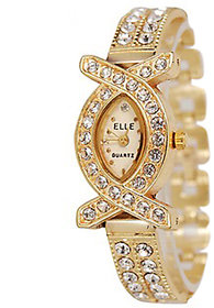 5 Star Round Dial Gold Analog Watch For Women
