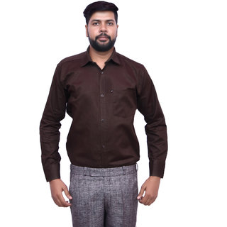 London Looks Chocolate Brown Color Formal Poly-Cotton Shirt