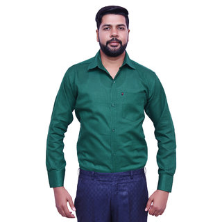 LONDON LOOKS DARK GREEN Men's FORMAL Poly-Cotton Shirt