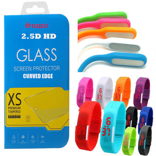 Snaptic 25D HD Curved Edge Tempered Glass with USB Lamp and Waterproof LED Watch for Vivo Y31