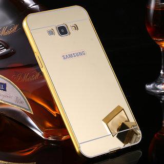 MobileMaxx Mirror Back Gold Cover Case Metal Frame For Samsung Galaxy J5 Prime