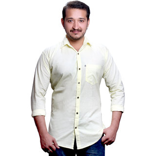 LC Slimfit Plain Yellow Casual Shirt