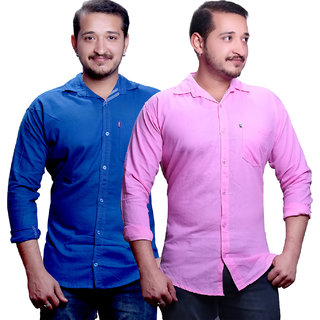New Democratic Men's Blue  Pink Slim Fit Casual Poly-Cotton Shirt