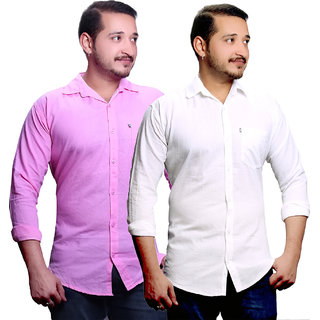 LC Plain Pink & White Casual Slimfit Poly-Cotton Shirt