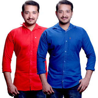 LC Plain Red And Blue Casual Slimfit Shirts