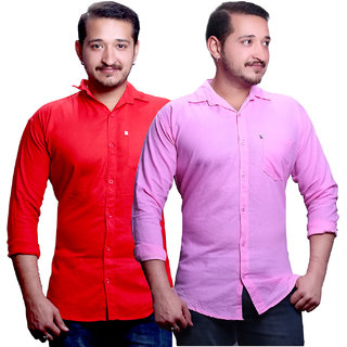 LC Plain Pink And Red Casual Slimfit Shirts