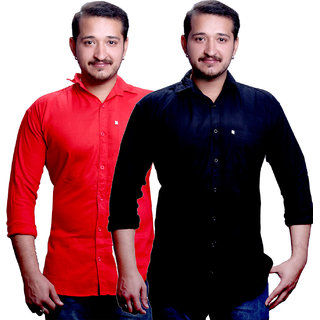 LC Plain Red & Black Casual Slimfit Poly-Cotton Shirts