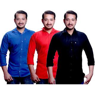 LC Combo Of 3 Plain Casual Slimfit Shirt(Blue,Black,Red)