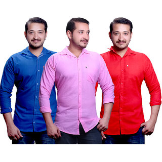 LC Combo Of 3 Plain Casual Slimfit Poly-Cotton ShirtRedPinkBlue