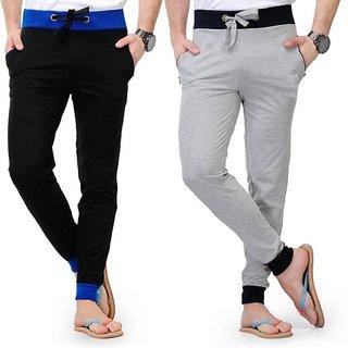 ToYouth Men's Black & Grey Cotton Blend Stylish Sports Track Pants Pack Of 2 (G#21)