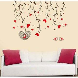 Decor Villa Flowers Bird With Causes Wall Decal & Sticker