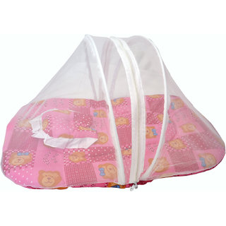 Jhankhi New Born Baby Soft Cotton Bedding Set With Pillow and Zipper Mosquito Net Pink