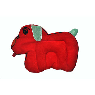 Jhankhi New Born Baby Pillow Dog Shape Filled with Musted Seeds in Red Color