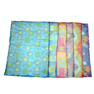 Jhankhi New Born Baby Waterproof Sleeping Cotton Mat  and Plastic Set of 6 Multi Color