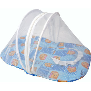 Jhankhi New Born Baby Soft Cotton Bedding Set With Pillow and Zipper Mosquito Net Blue