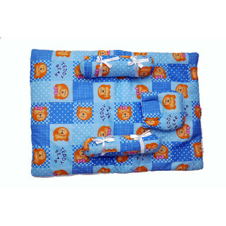 Jhankhi New Born Baby Soft Cotton Bedding Set of 4 Blue