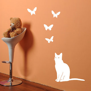 Decor Villa Cat Looking Butterfly Wall Decal & Sticker