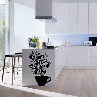 Decor Villa Tree In Cup Kitchen Wall Sticker (17 X 28) Inch