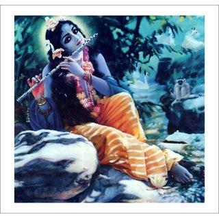 Decor Villa - Blue Krishna Ji Wall Poster ( 18 Inch X 18 Inch )