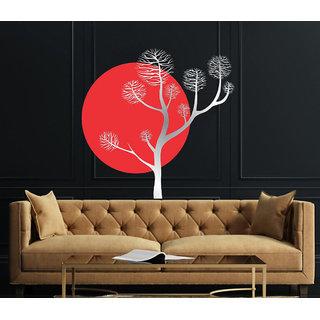 Decor Villa Nature With Tree Sliver Wall Sticker (22 X 22) Inch