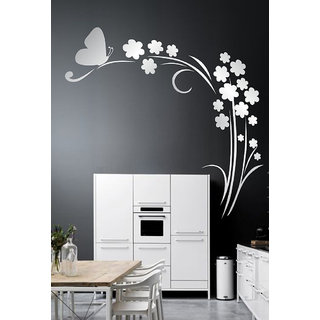 Decor Villa 18 Flowers Sliver Wall Sticker (22 X 22) Inch
