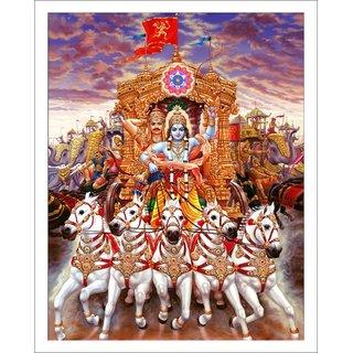Decor Villa - Krishna Arjuna Wall Poster ( 23 Inch X 18 Inch )
