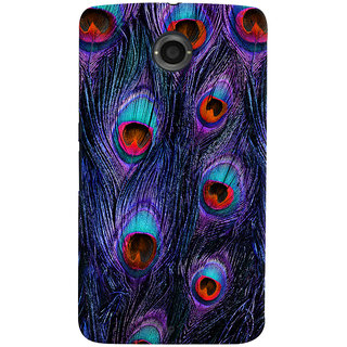 Oyehoye Peacock Feather Pattern Style Printed Designer Back Cover For Motorola Google Nexus 6 Mobile Phone - Matte Finish Hard Plastic Slim Case