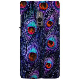 Oyehoye Peacock Feather Pattern Style Printed Designer Back Cover For OnePlus 2 Mobile Phone - Matte Finish Hard Plastic Slim Case
