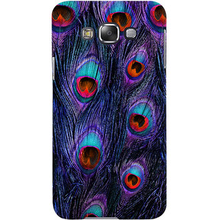 Oyehoye Peacock Feather Pattern Style Printed Designer Back Cover For Samsung Galaxy E7 Mobile Phone - Matte Finish Hard Plastic Slim Case