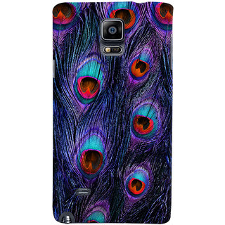 Oyehoye Peacock Feather Pattern Style Printed Designer Back Cover For Samsung Galaxy Note 4 Mobile Phone - Matte Finish Hard Plastic Slim Case