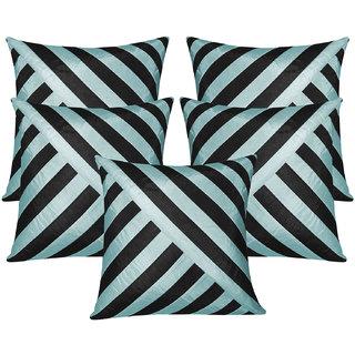Oblique Design Black N Sky Blue Cushion Cover 30x30 Cms (Set of 5)