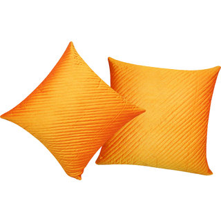 Straight Quilted Orange Cushion Cover 30x30 Cms (Set of 2)