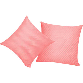 Straight Quilted Pink Cushion Cover 30x30 Cms (Set of 2)