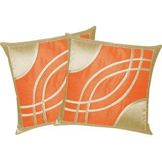 Eye Design Beige N Orange Cushion Covers 30x30 Cms (Set of 2)