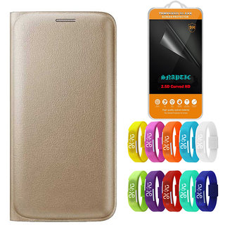cheaper ba0e2 798d1 Snaptic Golden Leather Flip Cover for Motorola Moto G4 Plus with 25D HD  Tempered Glass and Waterproof LED Watch