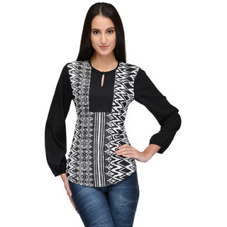 Tunic Nation Women's Printed Round Neck Poly Crepe Top