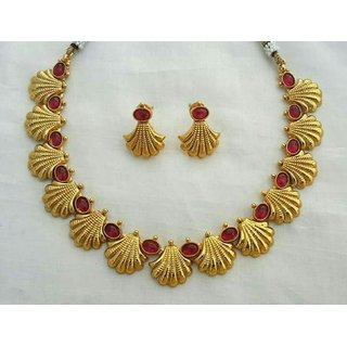 Gold Plated Choker Necklace With Earrings Set For Women