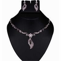 Kriaa by JewelMaze Zinc Alloy Silver Plated White Austrian Stone Necklace Set-AAA0527