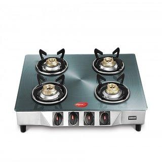 Pigeon Smart Plus 4 Burner Gas Cooktop - Metallic Silver Gas Cooktops at shopclues