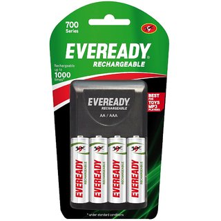 Eveready Ultima Rechargeable Nimh 700 Mah 4 Pc AA batteries with charger Pack