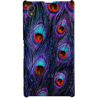 Oyehoye Peacock Feather Pattern Style Printed Designer Back Cover For Sony Xperia Z1 Mobile Phone - Matte Finish Hard Plastic Slim Case